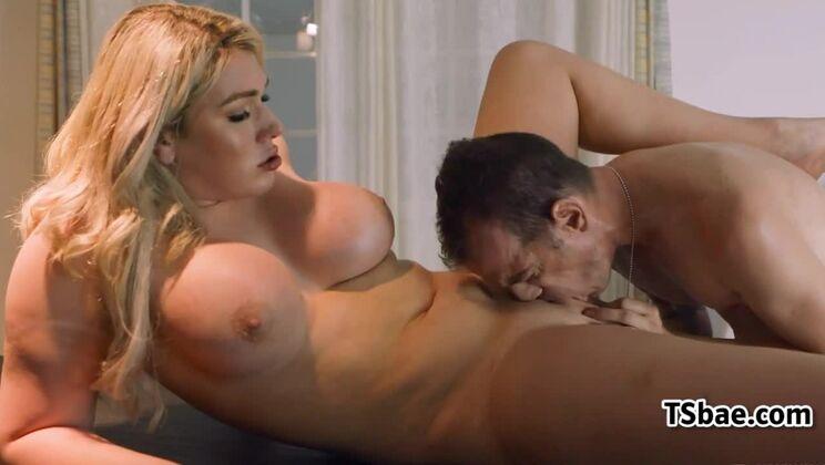 Amazing breasty youthful shemale Aspen Brooks giving very hot blowjob