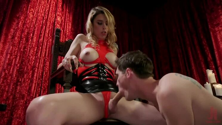 Spicy transsexual bitch in real blowjob video