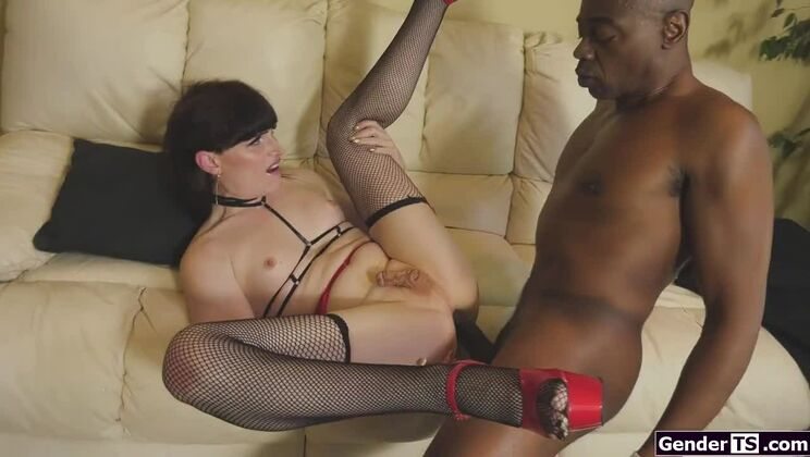 Comely small titted transsexual Natalie Mars is sucking dick