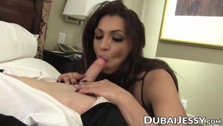 Sexy busty latino tgirl Jessy Dubai is anal penetrated