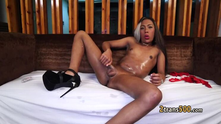Admirable small titted black tranny tart in hot masturbation sex video