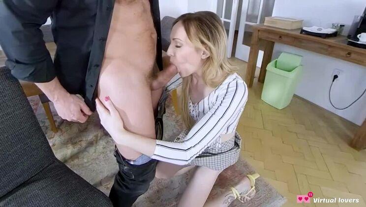 Fine-looking platinum ladyboy slut giving a great blow job