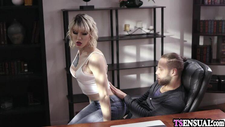 Sugar platinum tgirl Lena Moon is blowing my cock
