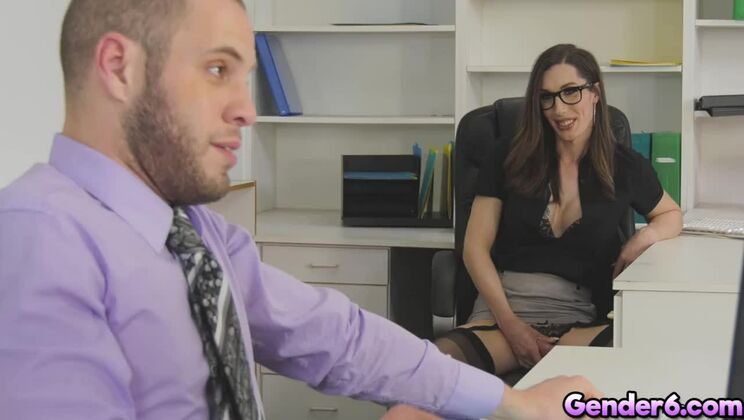 Divine brunette tranny Melanie Brooks is sucking my cock in office