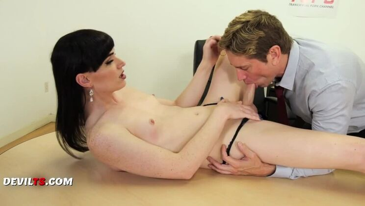 Enticing breasty young whore ladyboy Natalie Mars masturbate her pussy