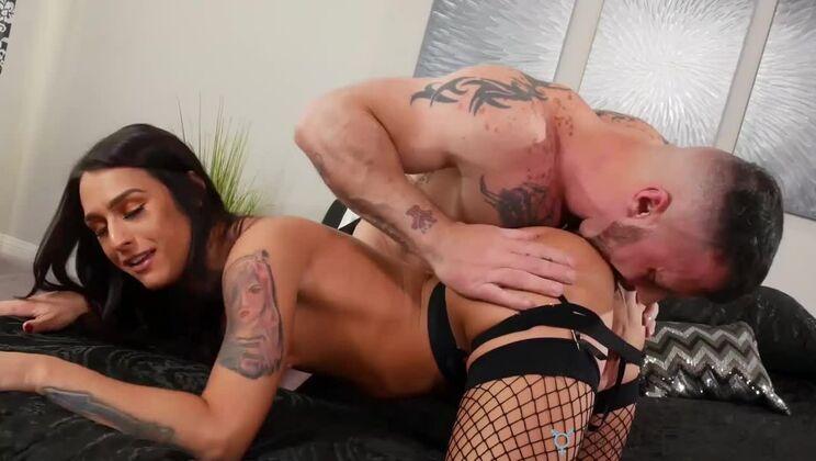 Racy flat chested latina TS Khloe Kay in real blowjob video