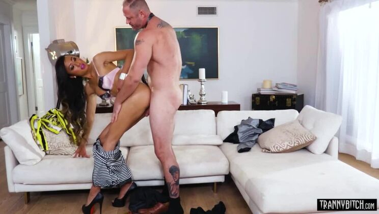 Big boobed asian TS fucked her lovers ass from behind