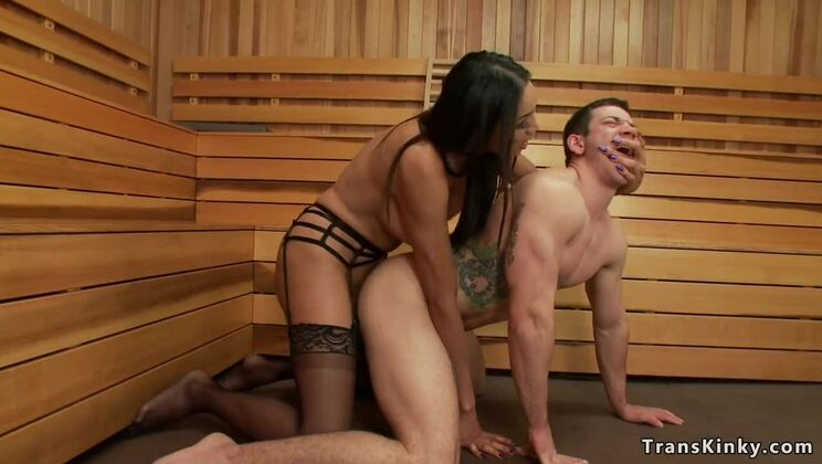 Shemale debt collector anal bangs man in sauna
