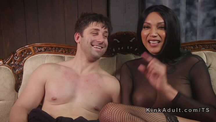 Male slave loves transsexual dick in ass